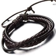 2Psc Mens woven Dark Brown Leather Bracelet _$25USD