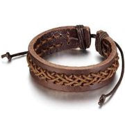 Brown Braided Mens Leather Bracelet_$20USD