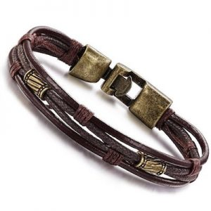 Men's Leather and metal Bracelet_$25USD